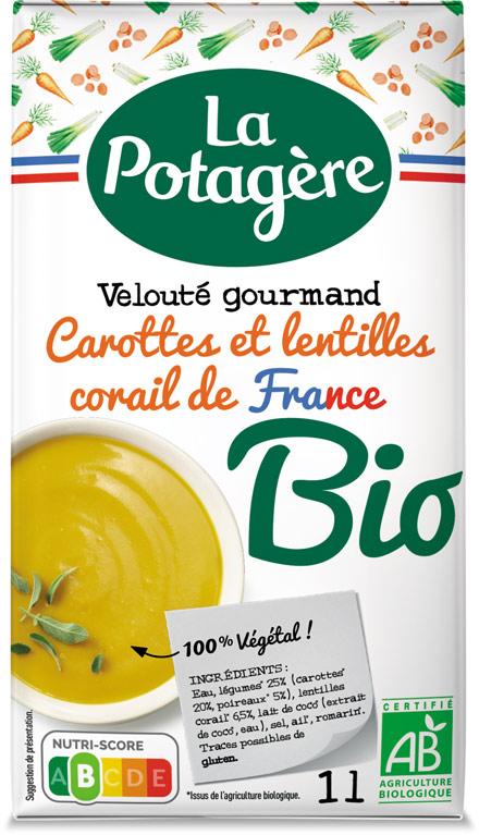 Velouté gourmand Carottes et lentilles corail de France 1L